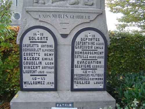 Monument aux morts de Warchin, crédits Jacques de Ceuninck